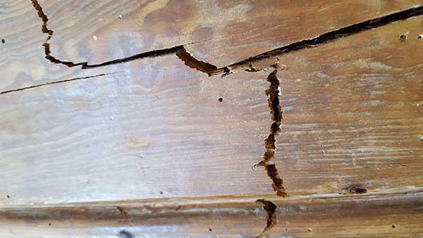 Detalle de la deformación de la viga una vez producido el colapso